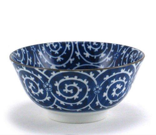 2 Pieces of Japanese 6 Diameter Porcelain Blue Karakusa Spiral Rice Noodle Bowls