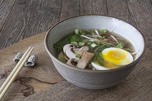 Handmade White Ceramic Ramen Bowl  Set of a Noodle Bowl with Chopsticks Rest  Rice or Soup Bowl