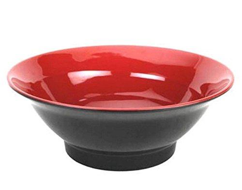 Happy Sales HSNB-MRB40L Red Black Melamine Udon Ramen Noodle Soup Bowl 40 oz