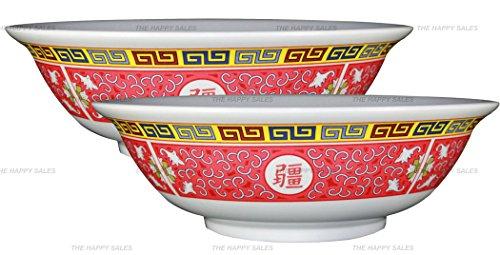 Happy Sales set of 2 Melamine Oriental Pho Noodle Soup Bowl 52 Ounce Longevity Design