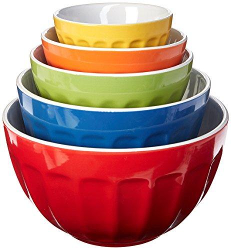 Uniware Heavy Duty Stoneware Mixing Bowls Set of 5 with Color Box 453-Inch  6-Inch  76-Inch  9-Inch 105-Inch
