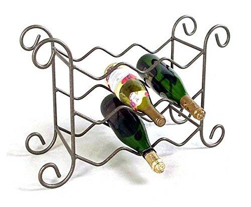 9 Bottle Iron Wine Rack Antique Bronze
