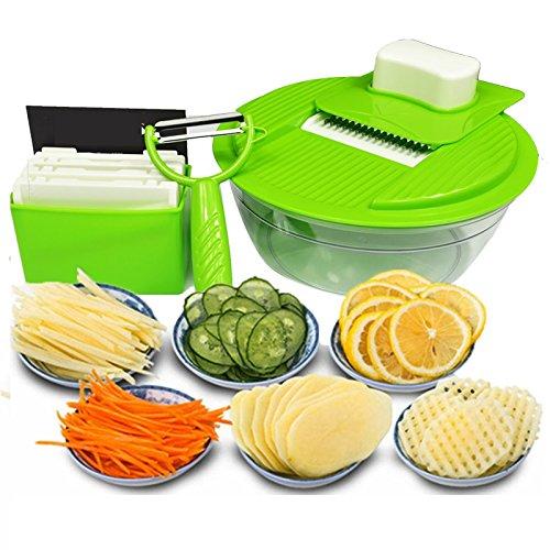 Mandoline SlicerMultifunction Vegetable Cutter 5 in 1 Stainless Steel Blades Fruit Salad Shredder Peeler Carrot Grater Kitchen Device
