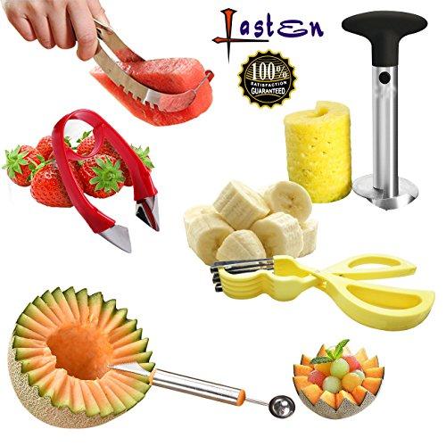 Lasten Fruit Slicer set of 5 Stainless Fruit Peeler Set - Pineapple Corer Watermelon SlicerBanana Cutter Carving Knife&Melon Baller Scoop and Strawberry Huller - Kitchen Cutter Gadgets Kit