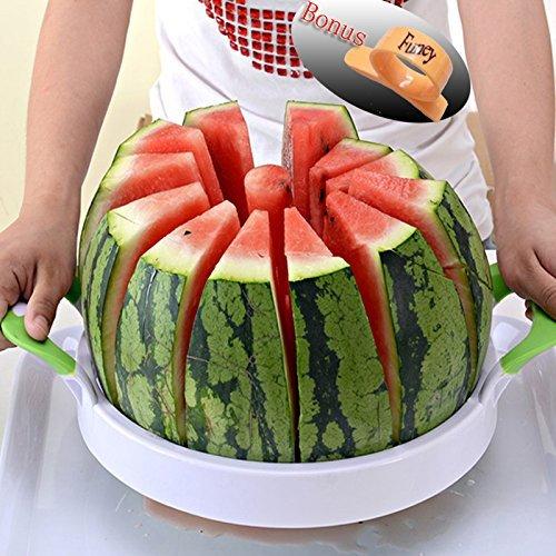 Watermelon Slicer Large Stainless Steel Fruit Cantaloupe Melon Slicer CutterCorer Server for Home