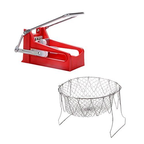 MonkeyJack Stainless Steel French Fry Cutter Slicer Chopper  Potato Deep-Fry Basket