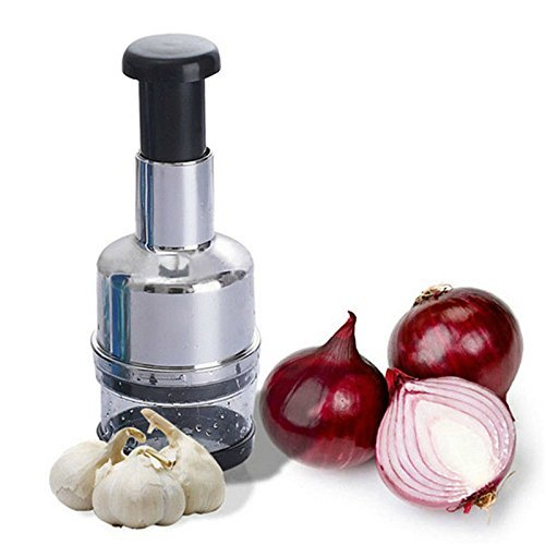 TooFun Hand Pressing Type Stainless Steel Multifunctional Onion Vegetable Fruit Food Chopper Garlic Press Easy Cutter Slicer Mincer Stainless Steel