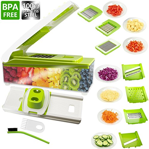Vegetable Slicer ANKO 100 Stainless-Steel Blades BPA FREE Slicer 10 in 1 Multi-Functional Adjustable Vegetable and Fruit Slicer Chopper Cheese Grater Multi Blades with Cleaning Brush 1-PACK