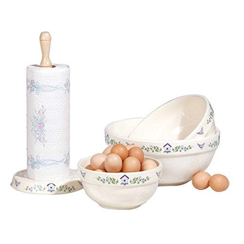Stoneware Bowls Ceramic WhiteBlue 3 Pieces Mixing Bowls  Renovators Supply