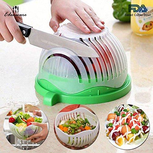 Edenware Upgraded Salad Cutter Bowl Green - Salad Maker Premium Fresh Fruit Vegetable Salad Bowl Cutter Salad Slicer Salad Chopper - Make Your Salad in 60 Seconds