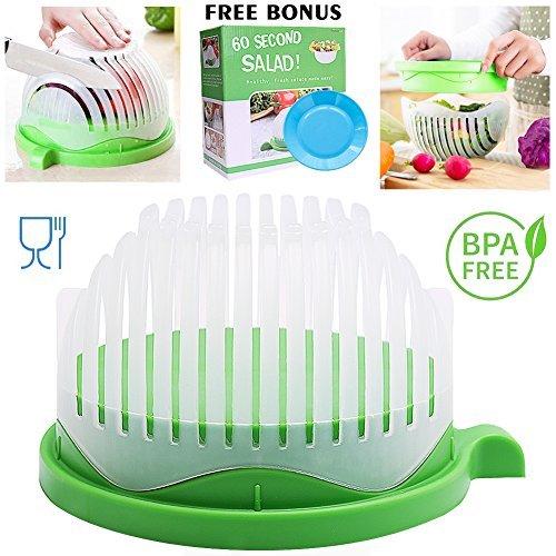 Salad Cutter Bowl 60 Seconds Salad Maker Salad Slicer Chopper Fruit Vegetable Strainer Food Grade Multi-use White with Green