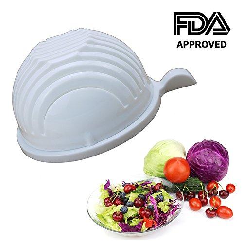 Salad Cutter Bowl - PFFY 60 Seconds Salad Maker Easy Fruit Vegetable Cutter Bowl Fast Fresh Salad Slicer Salad Chopper White