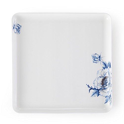 Porlien 11 Square Sushi PlateServing Plate Blue Floral Japanese Elegance Collection