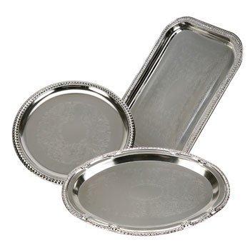 Nickel-Plated Metal Serving Trays