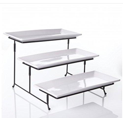 WCI 3 Tier Rectangular Serving Platter Set With Metal Rack - Three Tiered Dessert Cake Appetizer Set Display Tray Stand WHITE