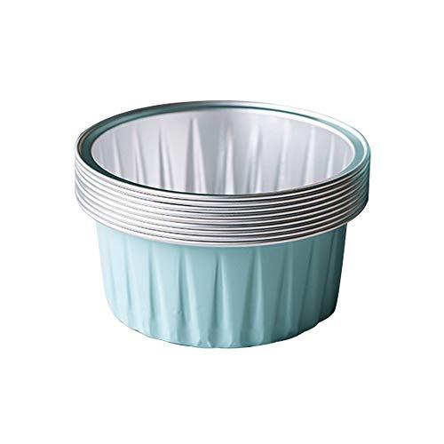 Bakerdream 125ml Aluminum Foil Cake Cups Muffin Cupcake Ramekin Cup Reusable Baking Cups for Cream Brulee Tart Mold Dessert Pans Pack of 30 Light blue