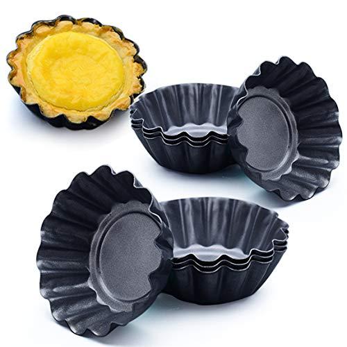 Picowe 12 Packs Egg Tart Mold Upgrade Bigger Size 3 x 09inch Cupcake Cake Muffin Mold Tin Pan Baking Tool Carbon Steel