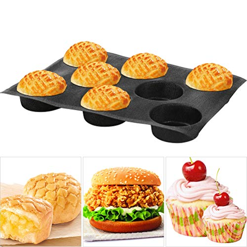 Baker Boutique 8541890740 Black Silicone Bun Hamburger Non-stick Perforated Bakery Mold Round Mould Baking Liners Mat Bread Form Pan 8 Loaves 171x122x16 41x 16