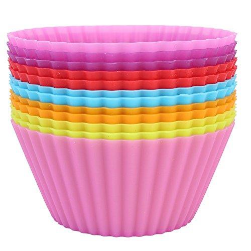 Modekini Multi Colour Reusable Silicone Cupcake Case 7 cm Pack of 12