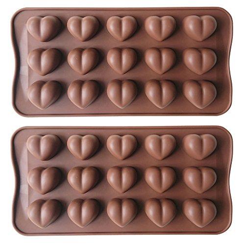 Axe Sickle 15 holes Silicone heart shaped chocolate moldCandy moldPudding moldHeart Shaped Ice Cube SoapCake Decorating 2 pcs
