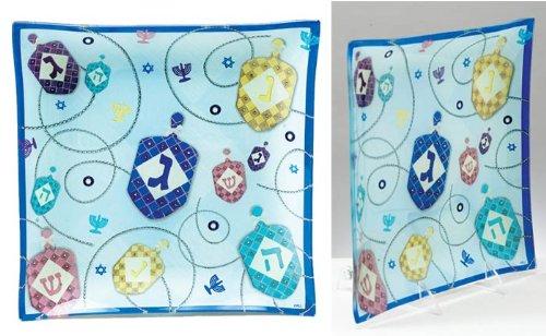Hanukkah Glass Serving Tray - Scrapbook