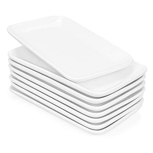 Foraineam Set of 8 Pieces 8 Inch Rectangular Porcelain Platters Dessert Appetizer Salad Plates White Serving Trays