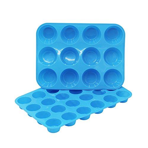 Silicone Muffin Cupcake Baking Pan Set1224 Mini Cup SizesCake Mold Lollypop Cupcake Baking MoldNon StickBPA FreeDishwasher - Microwave Safe-Blue