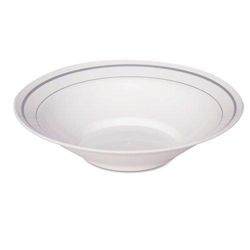 WNA Masterpiece Plastic Dinnerware Bowl WhiteSilver 10 oz - Includes ten packs of 15 bowls 150 per case