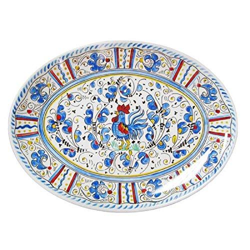 Le Cadeaux Rooster Coupe Oval Platter 16 Blue