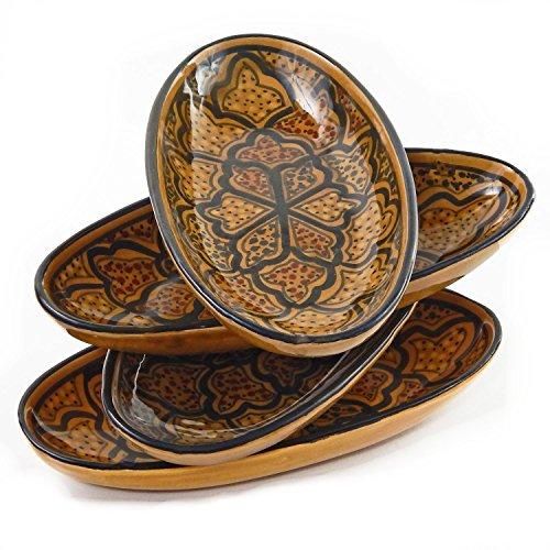 Le Souk Ceramique Small Oval Platters Set of 4 Honey Design