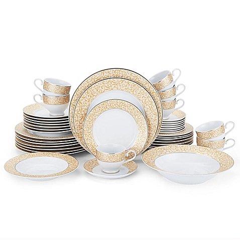 42-Piece Porcelain Dinnerware Set In Impeccable Design Parchment Gold