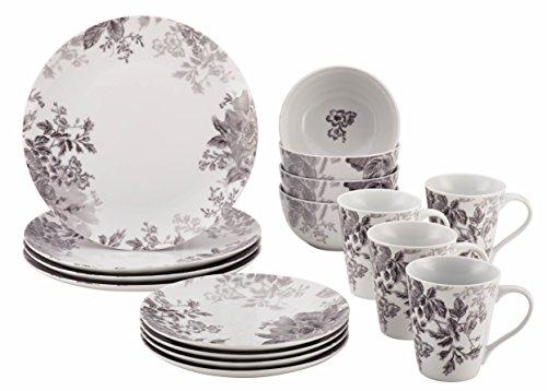 BonJour Dinnerware Shaded Garden 16-Piece Porcelain Dinnerware Set Slate