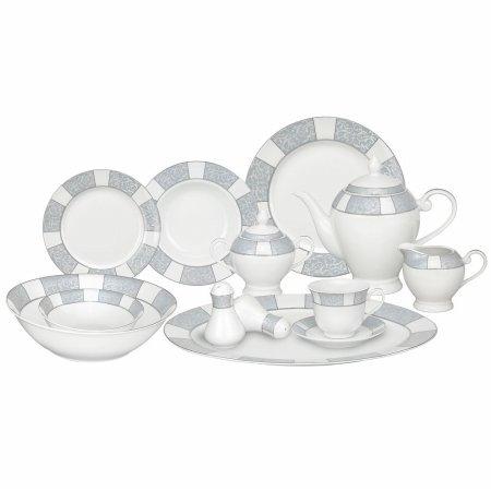 Lorren Home Trends 57-Piece Porcelain Dinnerware Set Domus Service for 8