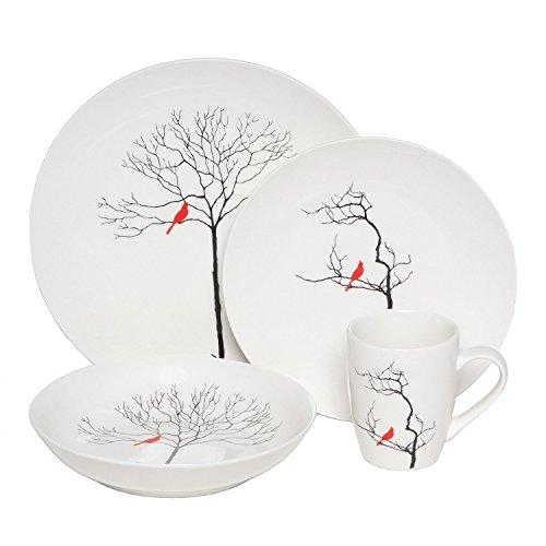 Premium Three Calling Birds Porcelain Dinnerware 16 Piece Set