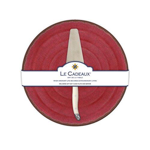 Le Cadeaux Antiqua Red Cake Platter Set