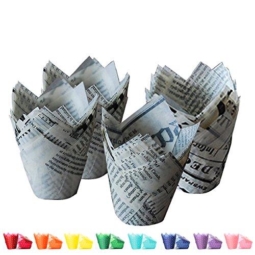 Tulip Cupcake Liners Newsprint  100 count