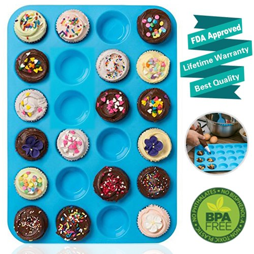 Mini Muffin Pan 24 Cups Amison Silicone Cookies Cupcake Bakeware Tin Soap Tray Mould Non stick BPA-free Dishwasher Safe
