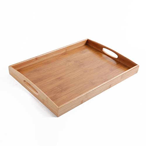 Gibson Home Bamboo Rectangular Serving Tray with Cutout Handle Brown