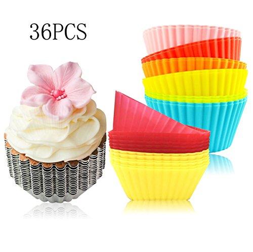 FollowFar Silicone Cake Box Bake Muffins Cup Set Bakery Cup Mold Egg Tart Cup Pudding Mold 24 Pack Silicone Cupcake Liners 12 Pack Aluminum Cupcake Liners