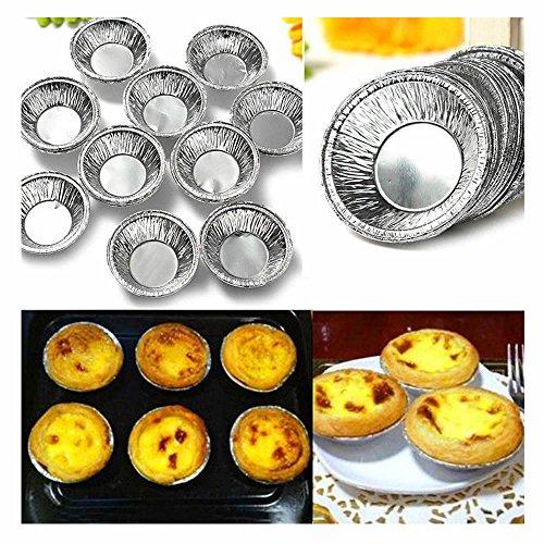 ORYOUGO 250 pcs Egg Tart Aluminum Cupcake Cake Cookie Muffin Pudding Mold Tin Baking Tool Baking Cups