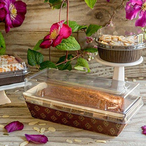 Rectangular Paper Loaf Pan Molds Medium Size with Lids - 7x3x2 - 12pcs