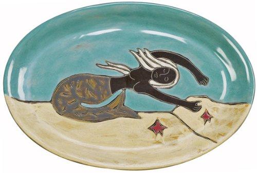 Mara Ceramic Stoneware 16 Inch Mermaids Large Oval Serving Platter