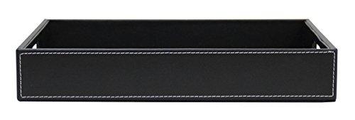 JustNile Leather Serving TrayDish - Black Sleek Rectangle