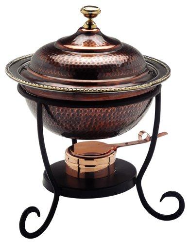 Old Dutch 12 x 15 Round Antique Copper Chafing Dish 3 Qt