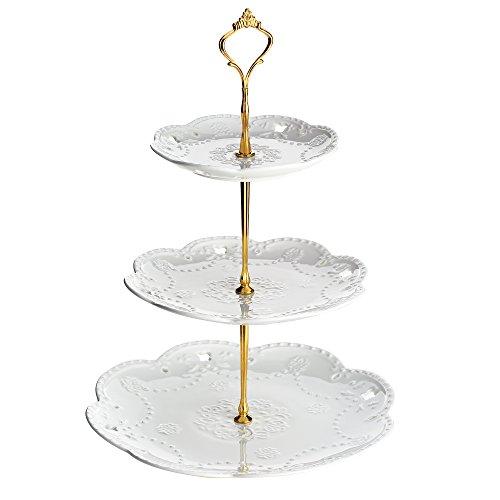 DOWAN 3-Tier Round Porcelain Cake Stand - White