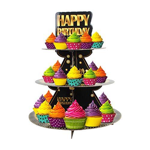 Happy Birthday 3 Tier Cardboard Cupcake StandTower Round Tiered Serving Platter Birthday Decorations For Boys Girls Birthday Party