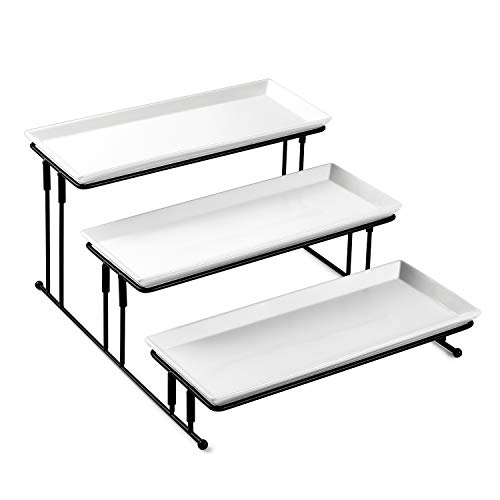Sweese 733101 3 Tiered Serving Stand - Stairstep Sturdier Food Display Stand with White Porcelain Platters 3 Tier Serving Trays for Parties