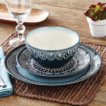 Better Homes and Gardens Teal Medallion 12-Piece Dinnerware Set Teal