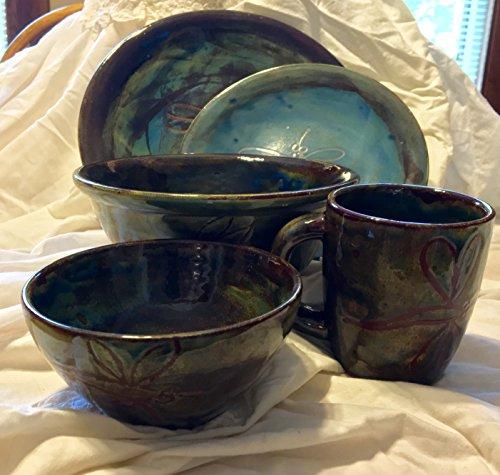 Dragonfly Hand Glazed Ceramic Dinner Ware Set of 5