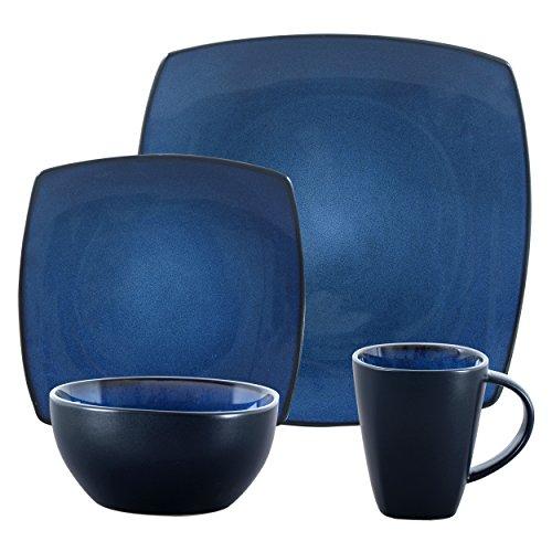 Gibson Bella Soho 16-Piece Square Reactive Glaze Dinnerware Set Blue